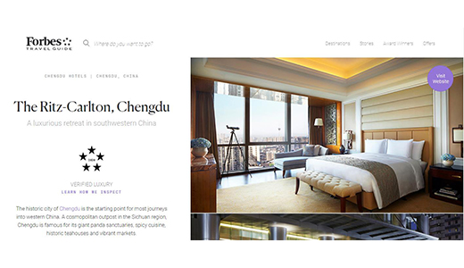 The Ritz-Carlton, Chengdu won the five-star award from Forbes